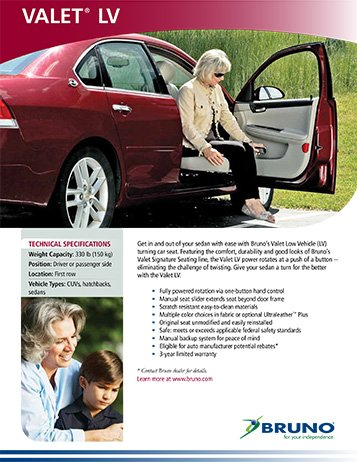 Bruno Valet Low Vehicle Turning Car Seat Technical Specifications