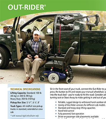 Bruno Out-Rider Scooter Lift Technical Specifications