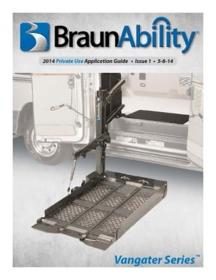 BraunAbility Vangater Series Application Guide