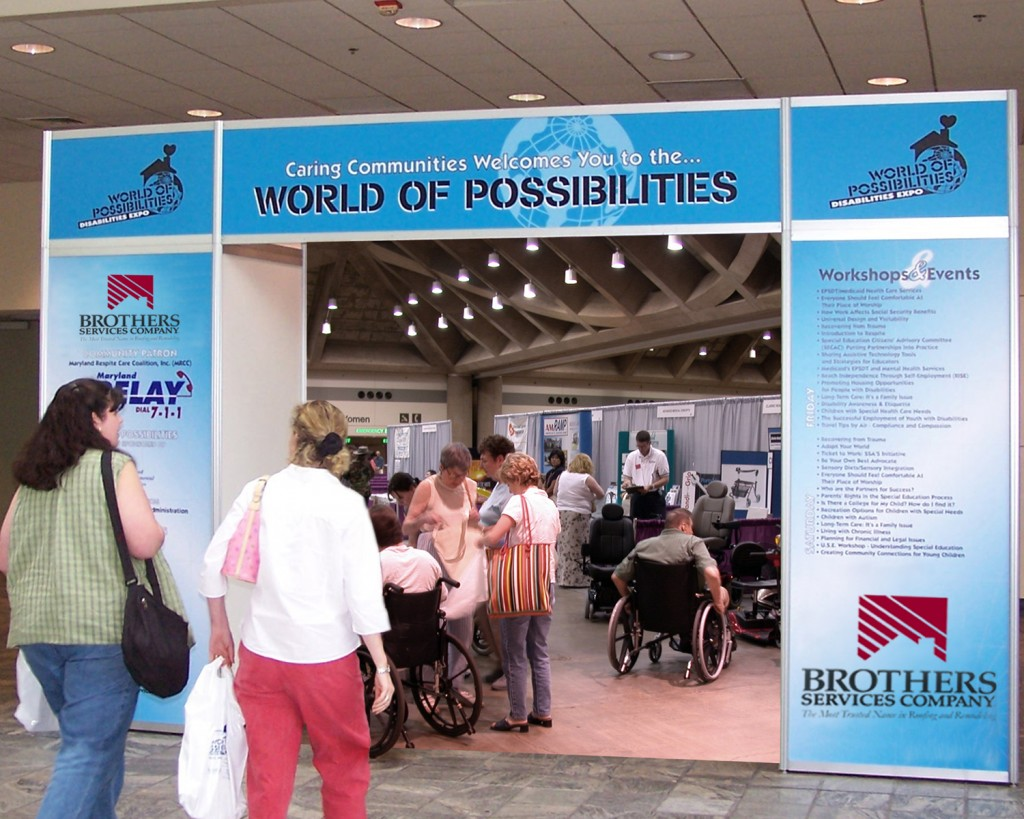 The entrance to the World of Possibilities Disabilities Expo.