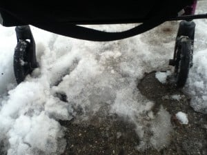 My walker wheels stuck in the slush.